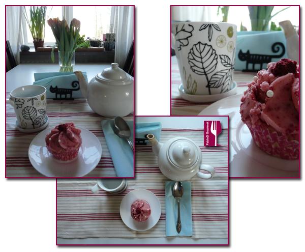 PabloD Gourmet  - Cupcakes de azafrán y frambuesas rojas para el café con leche